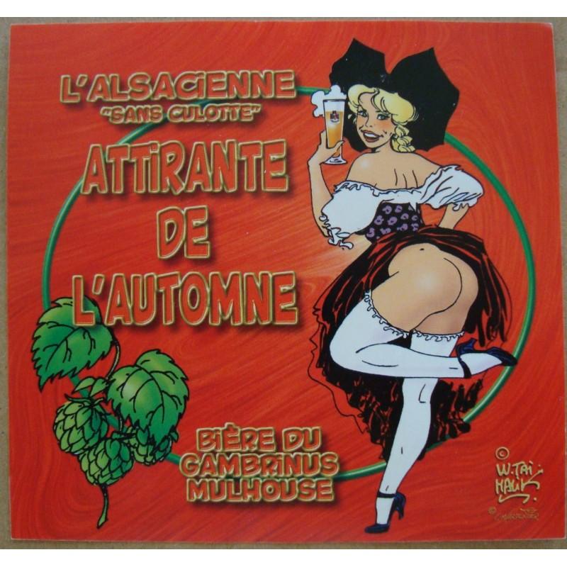 L/'Alsacienne sans culotte écri Etiquette de bière Storkanascht tour rouge