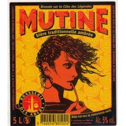Etiquette de bière - Mutine - Bière traditionnelle ambrée - 5L