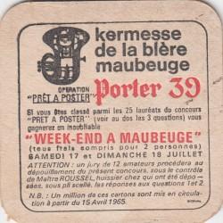 Sous bock de bière - Porter 39 - Kermesse de la bière - Maubeuge