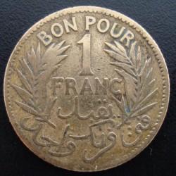 Monnaie de nécessité - 1 franc - chambre du commerce - Tunisie - 1921