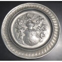 Assiette décorative - Blason - Etain - Vintage