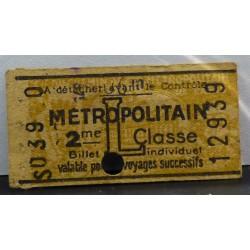 Ancien ticket de métro parisien - Vintage