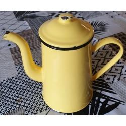 Cafetière émaillée vintage jaune