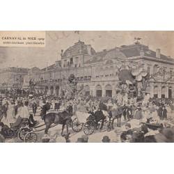 Carte postale - Carnaval de Nice 1909 - Défilé des chars place Masséna